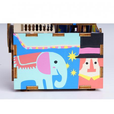 Puzzle 3D Cutie Muzicala, Parc de distractii, Lemn, 92 de piese3