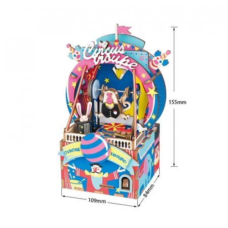 Puzzle 3D Cutie Muzicala, Parc de distractii, Lemn, 92 de piese2