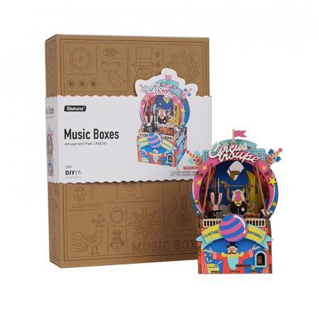 Puzzle 3D Cutie Muzicala, Parc de distractii, Lemn, 92 de piese7