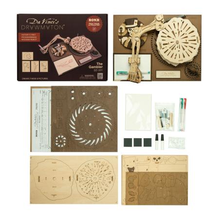 Puzzle 3D Mecanic Drawmaton, The Gambler, Lemn, 122 piese3