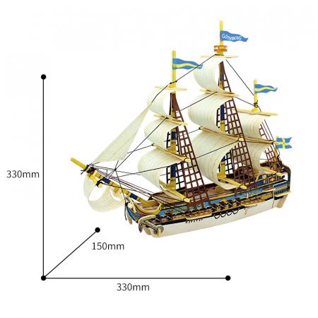 Puzzle 3D Corabie Gothenburg, Lemn, 53 piese3