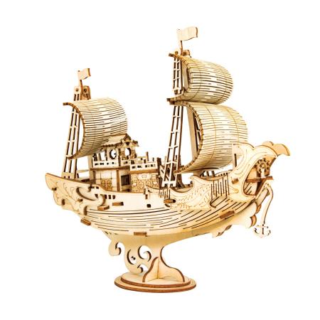 Puzzle 3D Japanese Diplomatic Ship, Lemn, 91 piese0