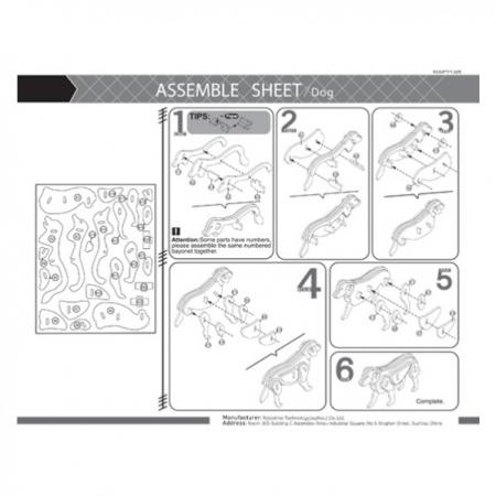 Puzzle 3D, cu acuarele, Caine, Lemn, 24 piese [2]
