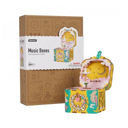 Puzzle 3D Cutie Muzicala, Balerina, Lemn, 52 de piese5