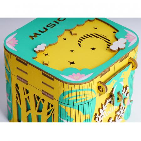 Puzzle 3D Cutie Muzicala, Balerina, Lemn, 52 de piese1