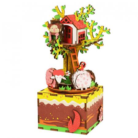 Puzzle 3D Cutie Muzicala, Casuta din copac, Lemn, 98 de piese0