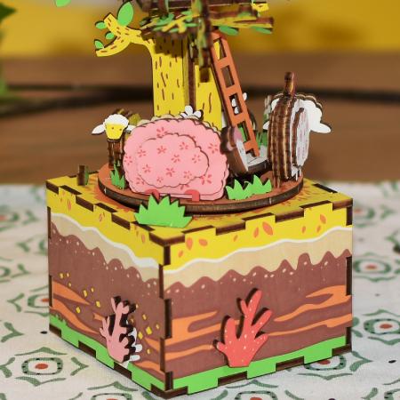 Puzzle 3D Cutie Muzicala, Casuta din copac, Lemn, 98 de piese1