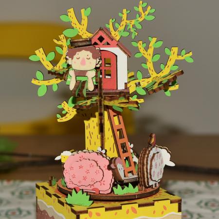 Puzzle 3D Cutie Muzicala, Casuta din copac, Lemn, 98 de piese2