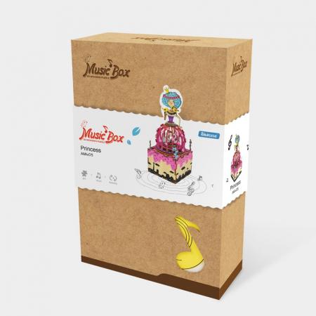 Puzzle 3D Cutie Muzicala, Printesa, Lemn, 118 piese3