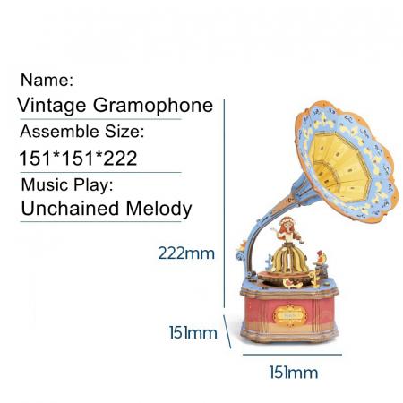 Puzzle 3D Cutie Muzicala, Gramofon vintage, Lemn, 109 piese4