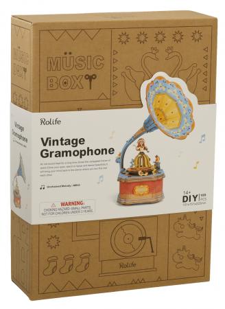 Puzzle 3D Cutie Muzicala, Gramofon vintage, Lemn, 109 piese3