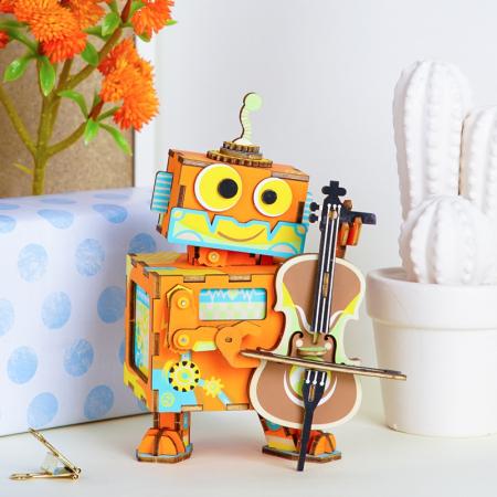 Puzzle 3D Cutie Muzicala, Micul artist Lemn, 89 de piese3