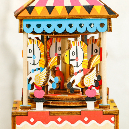 Puzzle 3D Cutie Muzicala, Carusel, Lemn, 118 piese [1]