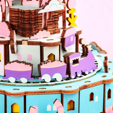 Puzzle 3D Cutie Muzicala, Oras zburator, Lemn, 192  piese5