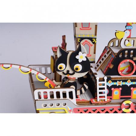 Puzzle 3D Cutie Muzicala, Fishing Kitty, Lemn, 96 de piese [2]