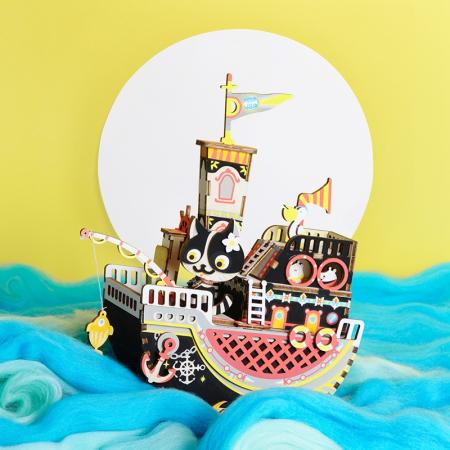 Puzzle 3D Cutie Muzicala, Fishing Kitty, Lemn, 96 de piese [6]