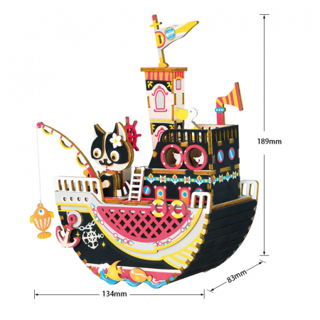 Puzzle 3D Cutie Muzicala, Fishing Kitty, Lemn, 96 de piese [1]