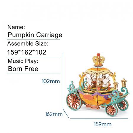 Puzzle 3D Cutie Muzicala, Pumpkin Carriage, Lemn [1]