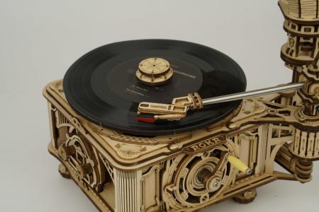 Puzzle 3D, cutiuta muzicala, Gramofon clasic cu manivela [4]