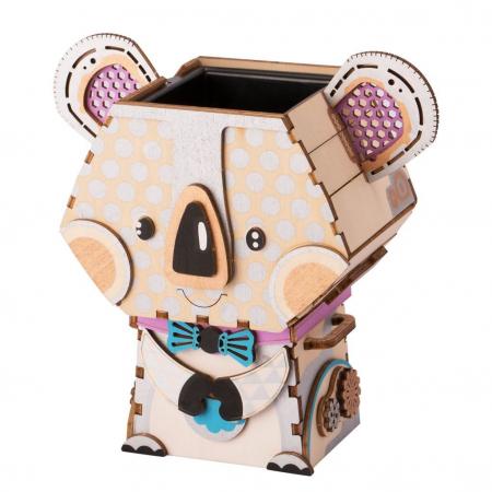 Puzzle 3D din lemn, Ghiveci - koala, 65 piese [1]