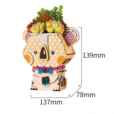Puzzle 3D din lemn, Ghiveci - koala, 65 piese [3]