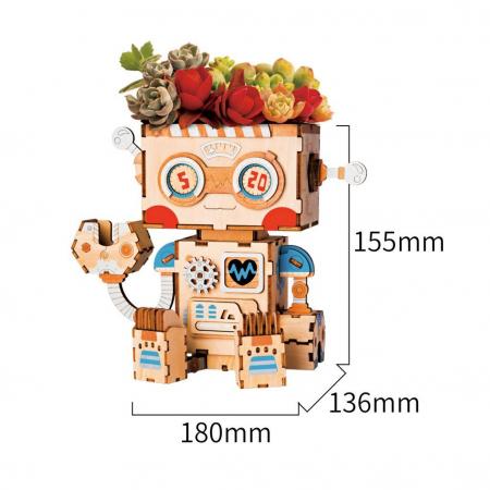 Puzzle 3D din lemn, Ghiveci - robotel, 112 piese [1]