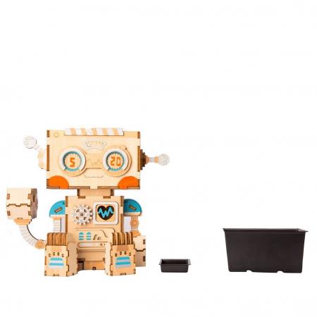 Puzzle 3D din lemn, Ghiveci - robotel, 112 piese [4]