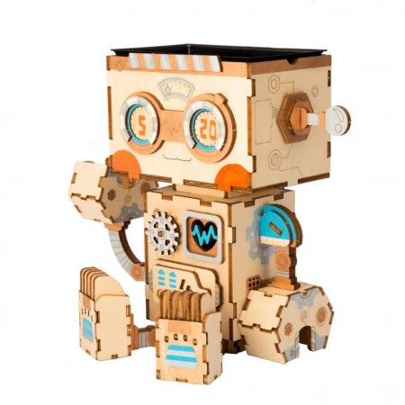Puzzle 3D din lemn, Ghiveci - robotel, 112 piese [2]