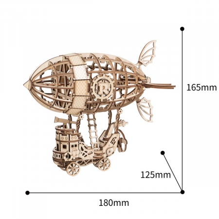 Puzzle 3D Dirijabil Steampunk, Lemn, 176 piese3