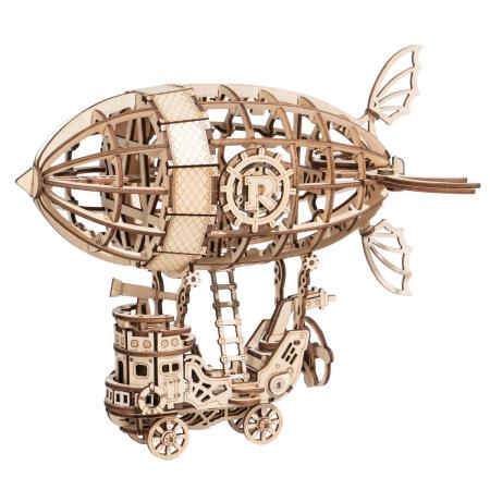 Puzzle 3D Dirijabil Steampunk, Lemn, 176 piese0
