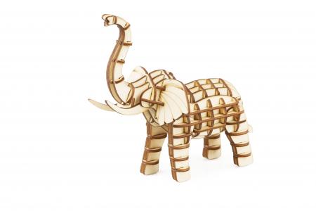 Puzzle 3D, Elefant, Lemn, 68 piese0