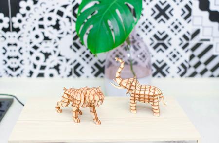 Puzzle 3D, Elefant, Lemn, 68 piese1