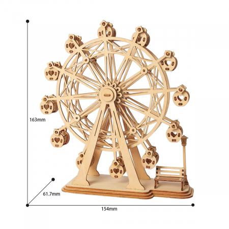 Puzzle 3D Ferris Wheel, Lemn, 120 piese3