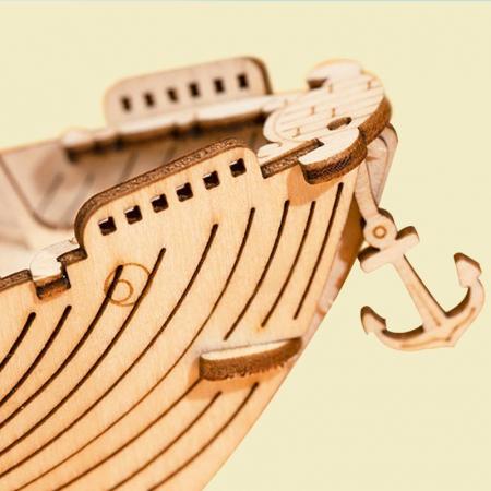 Puzzle 3D Fishing Ship, Lemn, 104 piese [3]