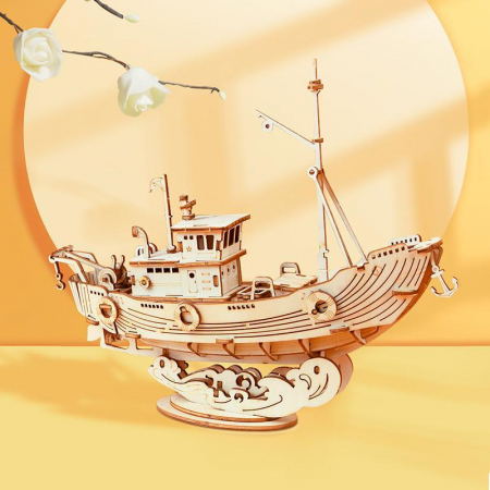 Puzzle 3D Fishing Ship, Lemn, 104 piese [2]