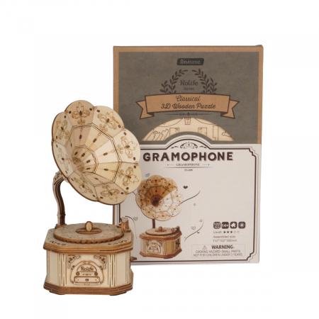 Puzzle 3D Gramofon, Lemn, 122 piese2