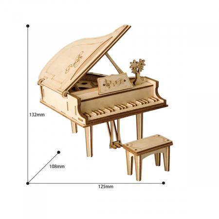 Puzzle 3D Grand Piano, Lemn, 74 piese3