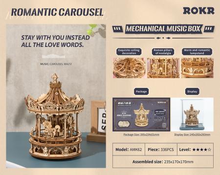 Puzzle 3D, lemn, cutiuta muzicala, Carusel Romantic, 337 piese2