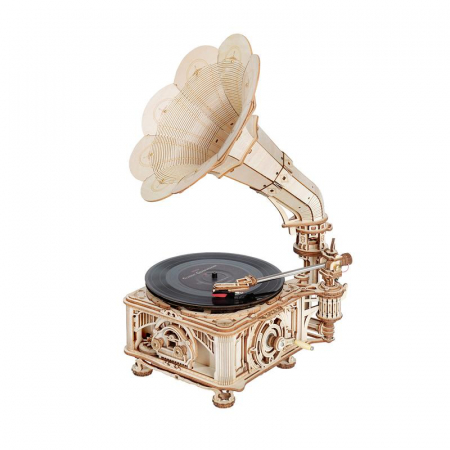 Puzzle 3D, Gramofon clasic, rotire cu manivela sau electrica [0]