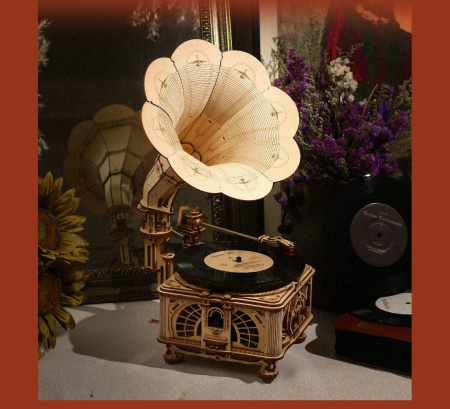 Puzzle 3D, Gramofon clasic, rotire cu manivela sau electrica [5]