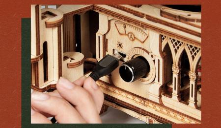 Puzzle 3D, Gramofon clasic, rotire cu manivela sau electrica [4]