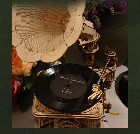 Puzzle 3D, Gramofon clasic, rotire cu manivela sau electrica [6]