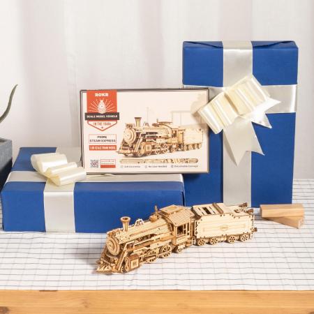 Puzzle 3D Locomotiva cu abur, Lemn, 308 piese3