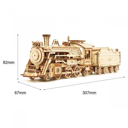 Puzzle 3D Locomotiva cu abur, Lemn, 308 piese6