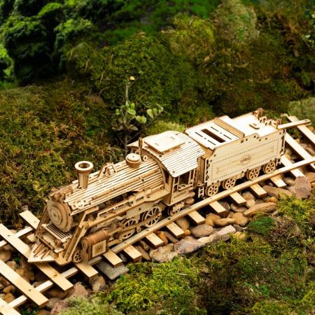 Puzzle 3D Locomotiva cu abur, Lemn, 308 piese2