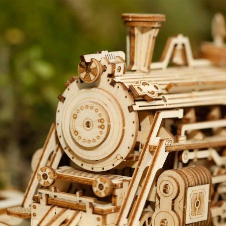Puzzle 3D Locomotiva cu abur, Lemn, 308 piese1