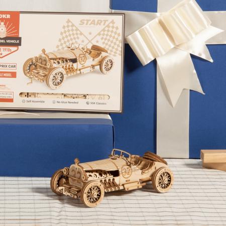 Puzzle 3D Masina de curse, Lemn, 220 piese1