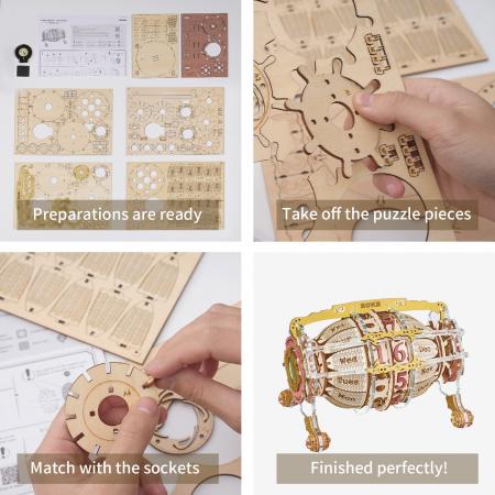 Puzzle 3D Mecanic , Ceas Calendar Masina Timpului, 250 piese11