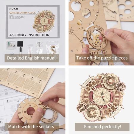 Puzzle 3D Mecanic, Ceas de perete Zodiac, 168 piese8