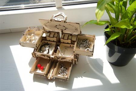 Puzzle 3D Mecanic, Cutie Antica de Bijuterii, 185 piese [4]